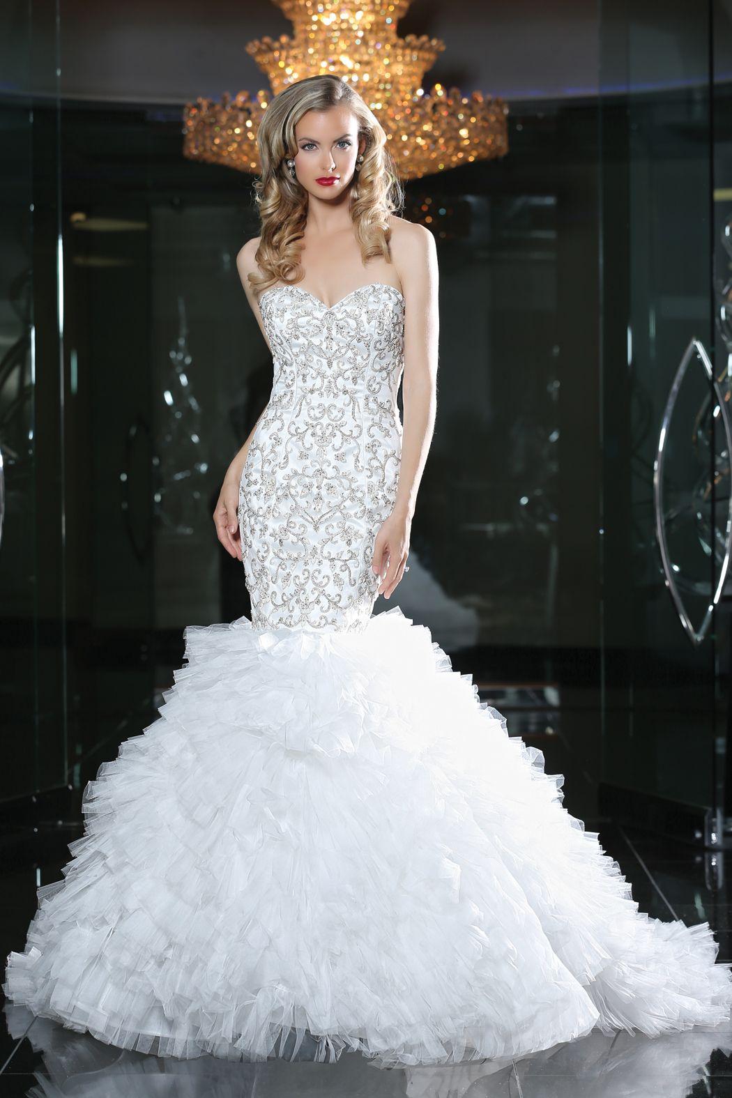 Simone Carvalli wedding gown style 90217 #mermaidsilhouette #strapless #sweetheart #bling #ruffles