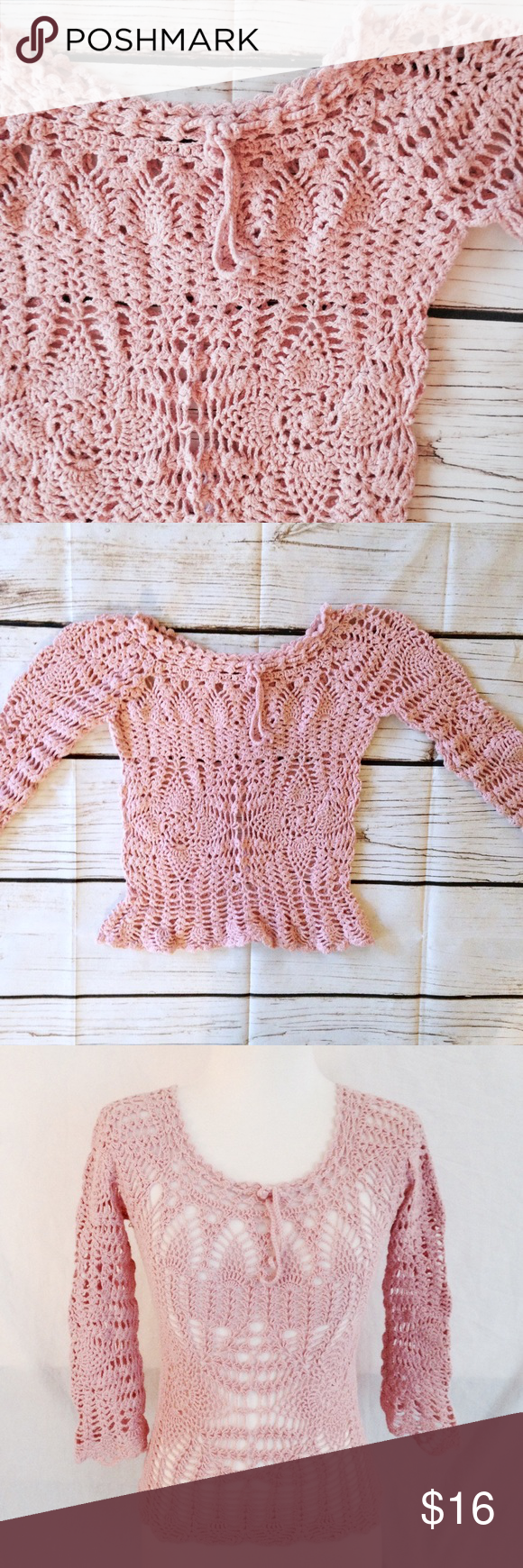 7bc65104b3a55d Vintage Pink Crochet Boho Top True vintage doily crochet knit layering top.  Boatneck fit with