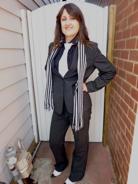 1920s 30s stripy female gangster suit costume clothes