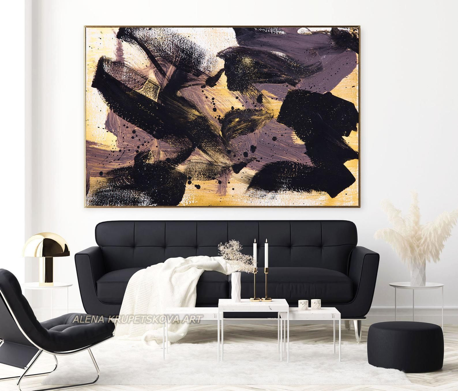 Black And Gold Dark Painting Print Abstract Dark Wall Art On Etsy In 2021 Dark Paintings Glam Wall Art Oversized Wall Art