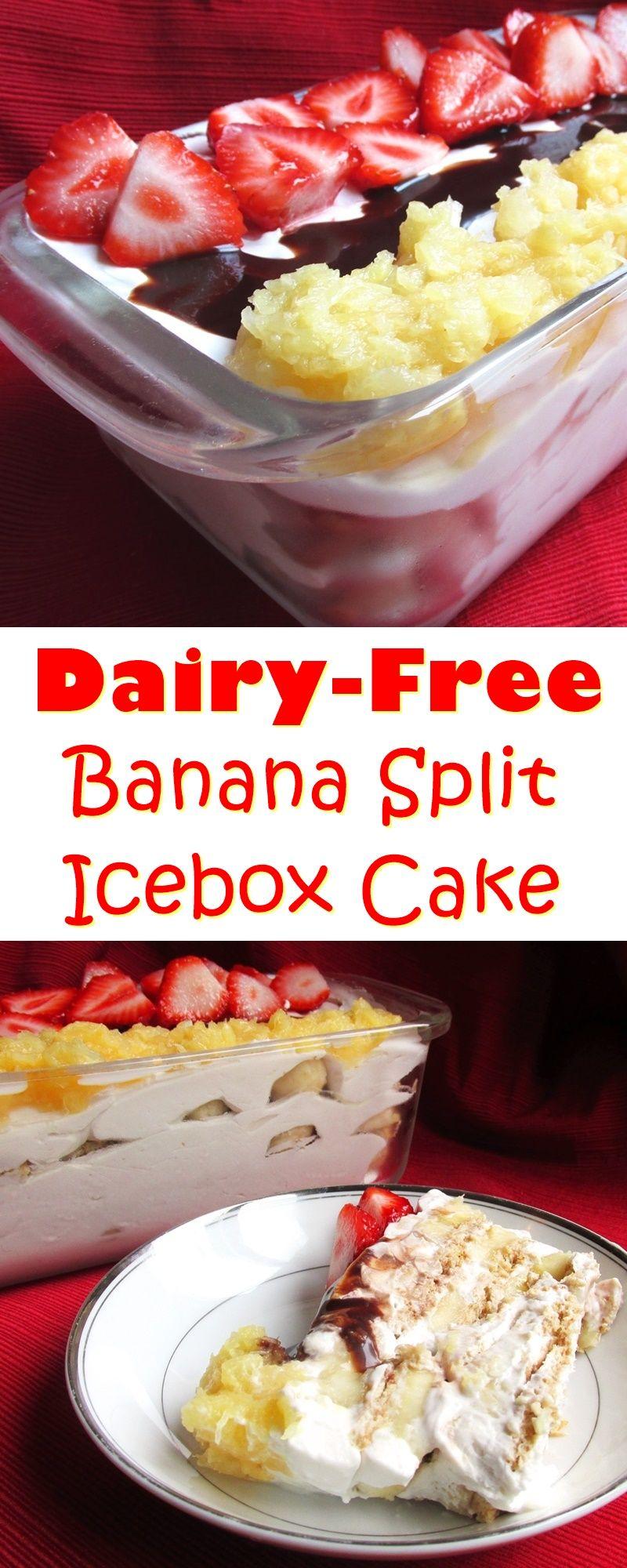 Banana Split Icebox Cake - an easy, no baked, dairy-free dessert recipe with gluten-free & vegan options