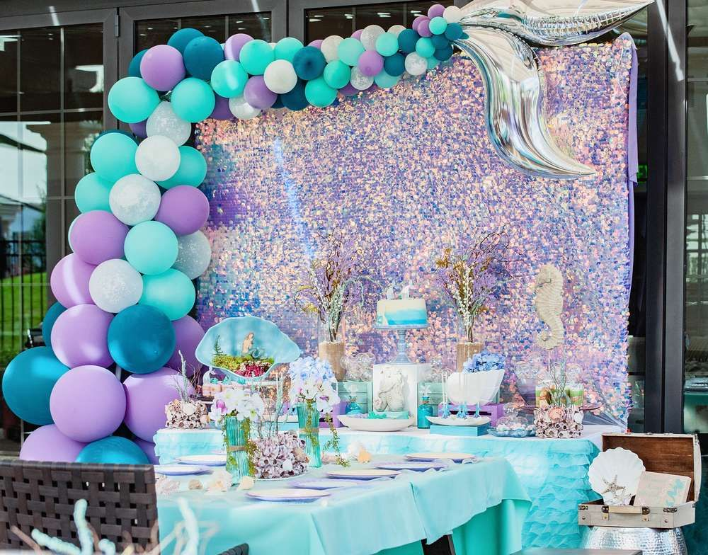 Mermaid Birthday Party Ideas Photo 10 Of 25 Mermaid Birthday Party Decorations Mermaid Theme Birthday Party Mermaid Birthday Party