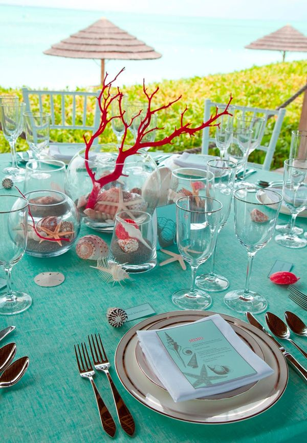 Beach inspired table setting i dont like the red but id do beach themed table decor wedding turquoise and coral centerpiece beach theme does not always have to be turquoise and shades of blue add a dash of coral junglespirit Gallery
