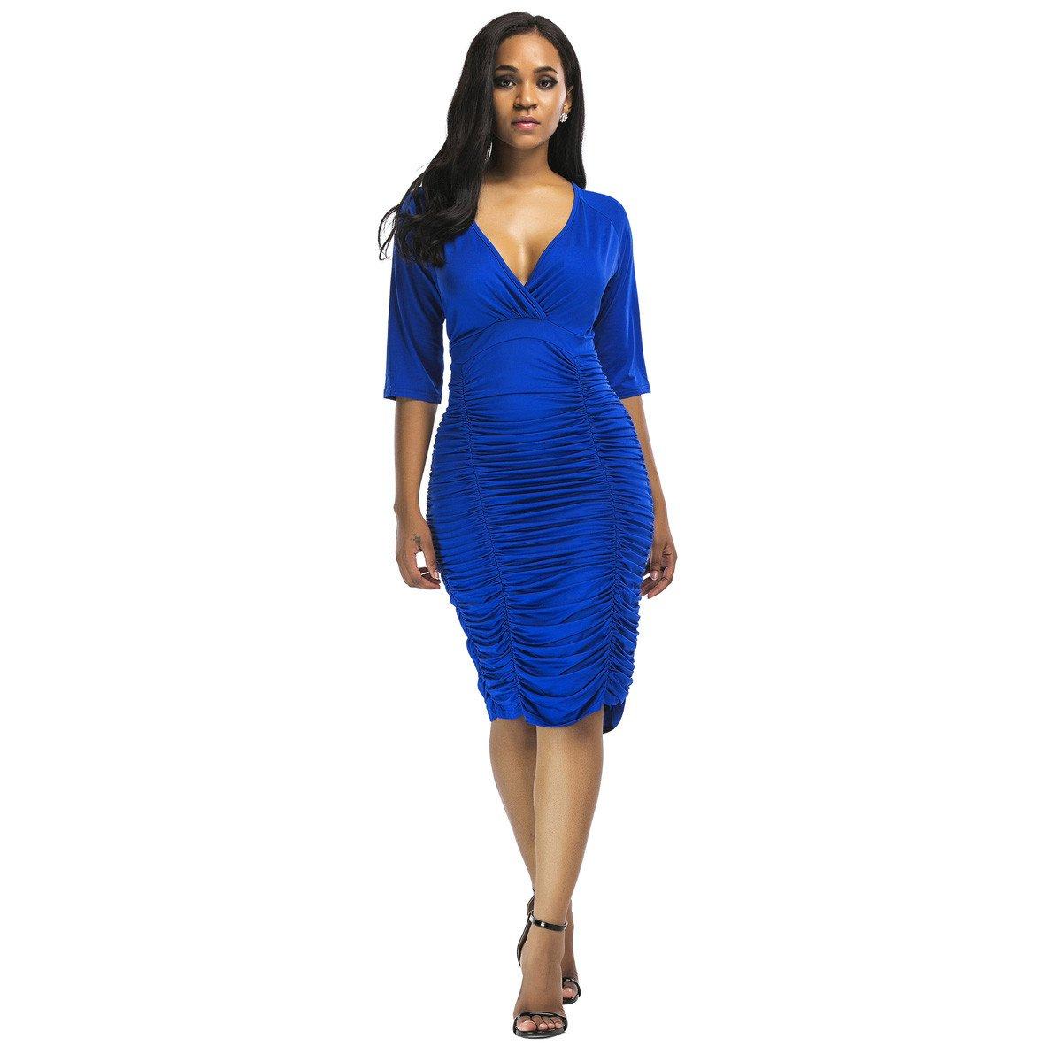 b59fc56cfc6eeb Women  s Sexy Deep V Neck Nightclub Dresses