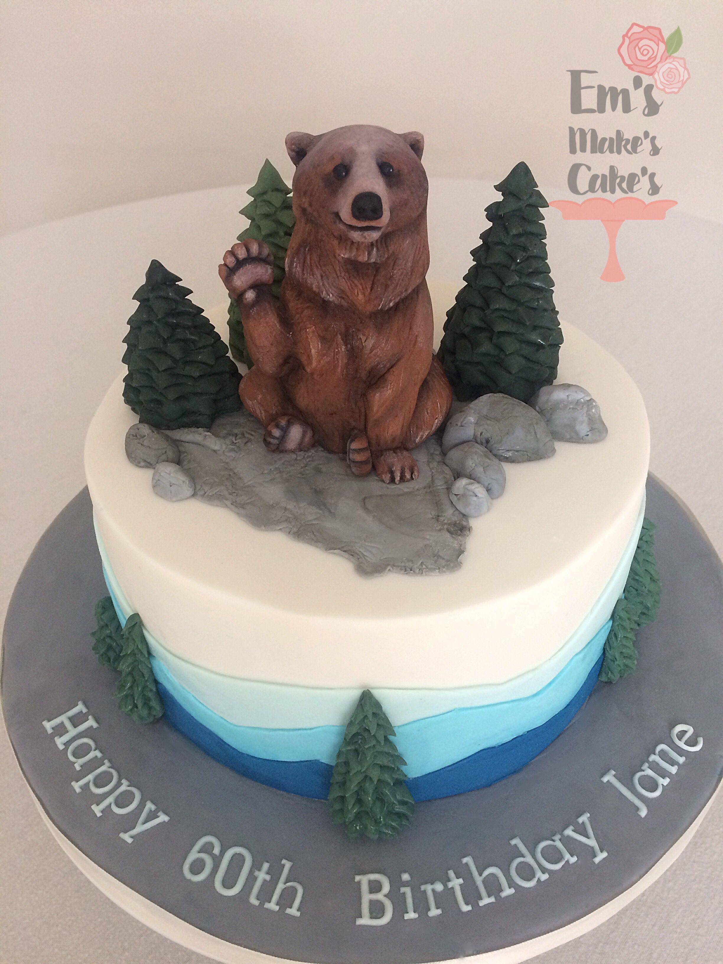 Astounding Mountain Range Grizzly Bear Theme Cake 10 Birthday Cake Cake Funny Birthday Cards Online Aeocydamsfinfo