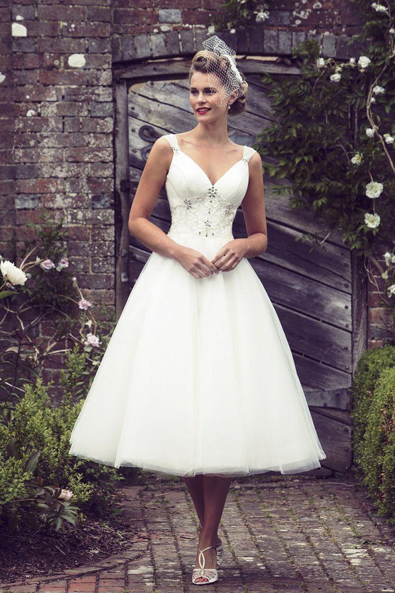 Embroidered beaded sleeveless rustic vneck tea length wedding dress