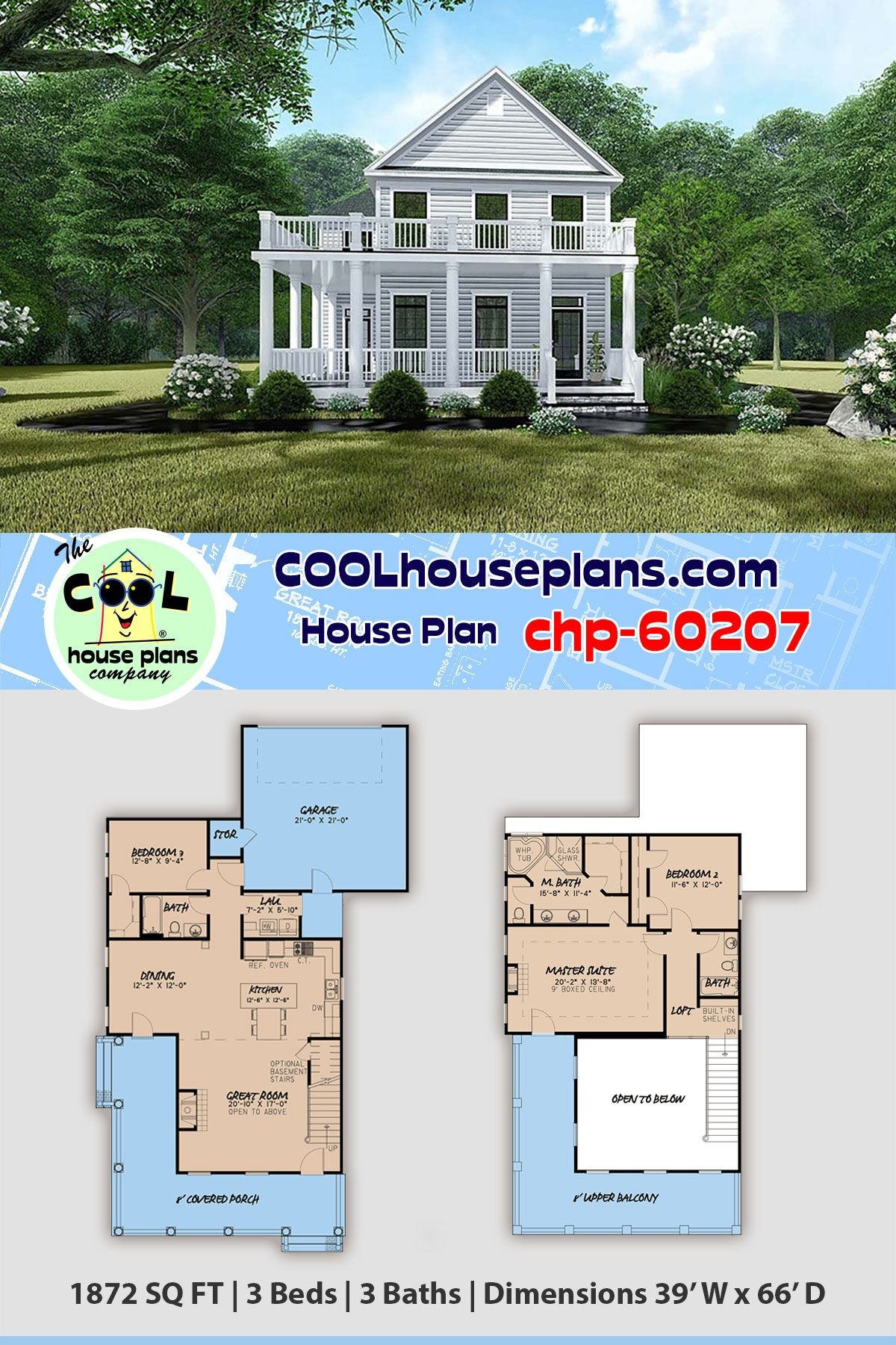 Traditional Neighborhood Plan Chp 60207 3 Beds 3 Baths Rear Garage Entry And Stacke Porch House Plans Farmhouse Style House Plans Architectural House Plans