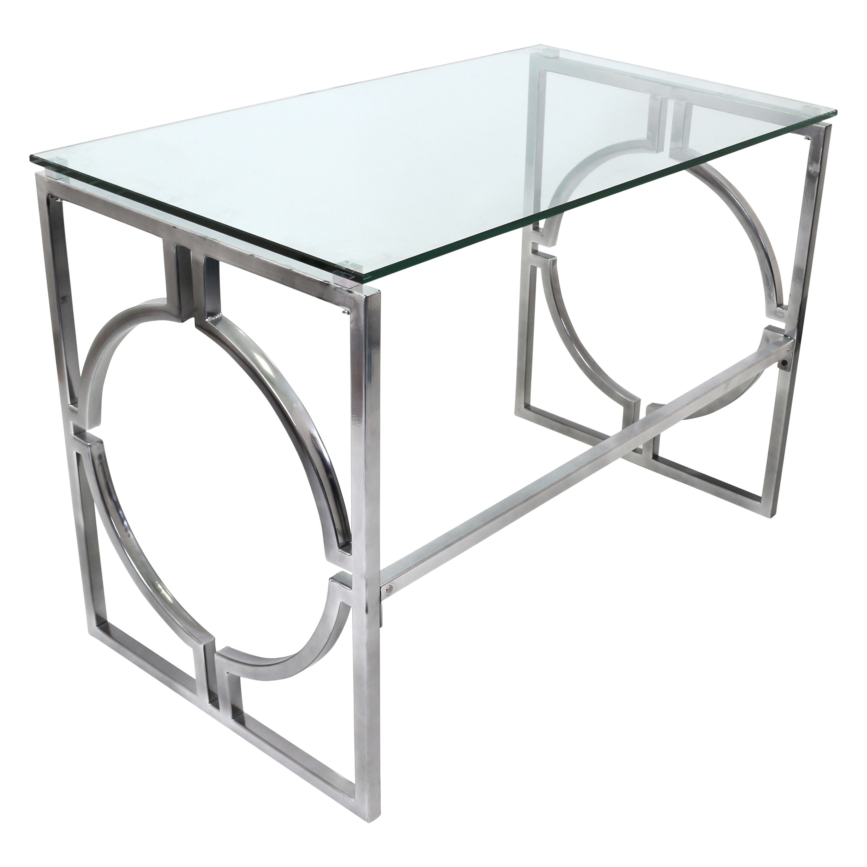 Executive office table with glass top the sleek geometric design of the desk frame is emphasized by the