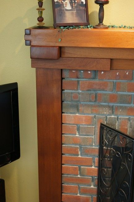 Craftsman greene greene style fireplace mantle the for Craftsman style fireplace mantel plans
