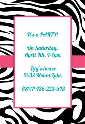 Zebra stripes free printable party invitation template greetings zebra stripes free printable party invitation template greetings island stopboris Gallery