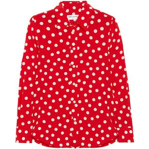 Saint Laurent Polka-dot silk-crepe shirt