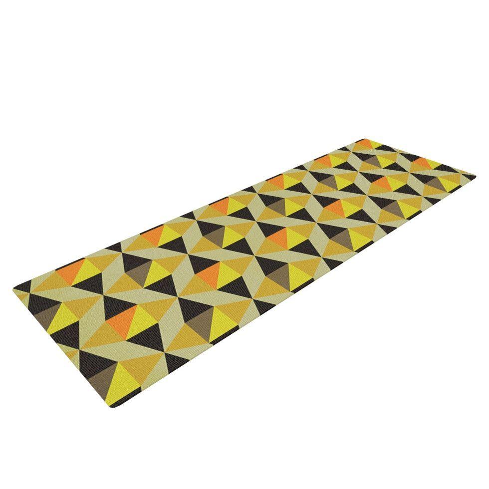 """Louise Machado """"Onyx"""" Yellow Black Yoga Mat"""