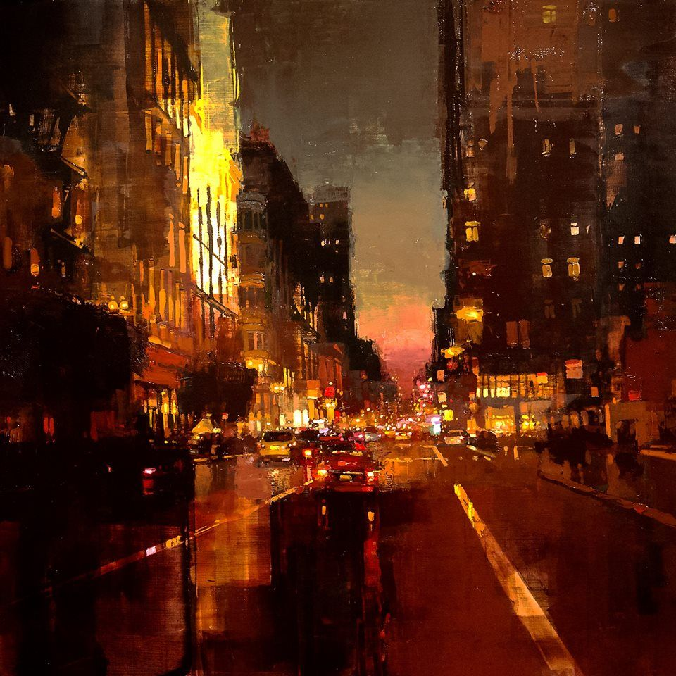 "Jeremy Mann  ""Red Evening by Union Square"" 36 x 36 inches Oil on Panel 2015"