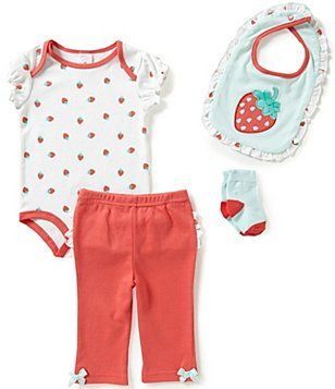 Starting Out Baby Girls Newborn-9 Months Strawberry 4-Piece Set