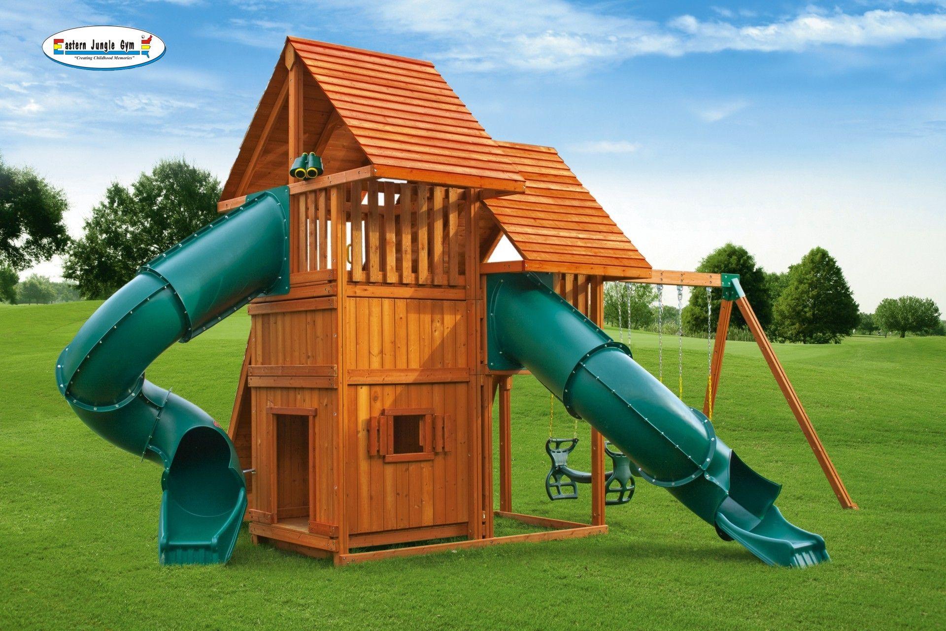 sky 6 backyard playground climbing wall swings and jungle gym