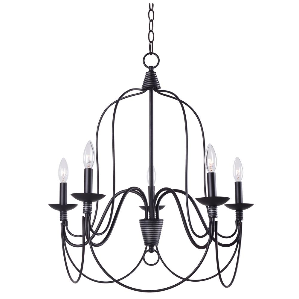 Manor Brook Rivy West 5 Light Oil Rubbed Bronze Chandelier With Silver  Highlights MB12127