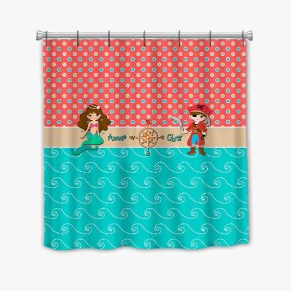 Mermaid Pirate Personalized Shower Curtain Customized Bath Decor Many Colors Available