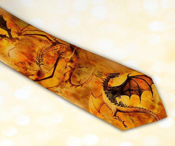 Golden Dragons men's necktie in fantasy style Fall by tiestory