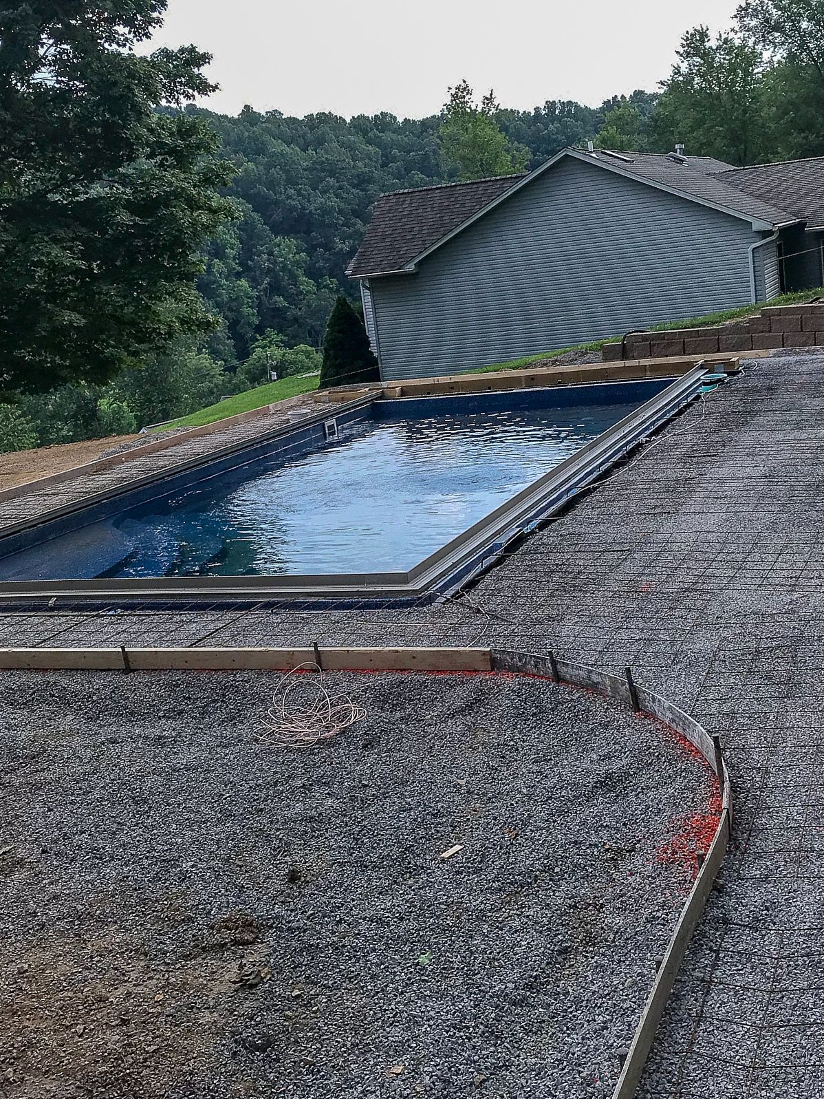 This 14 X 30 Majesty Fiberglass Pool Is Being Installed In Bridgeport Wv And Features An Automatic Cover Chlorine Gener Pool Construction Pool Viking Pools