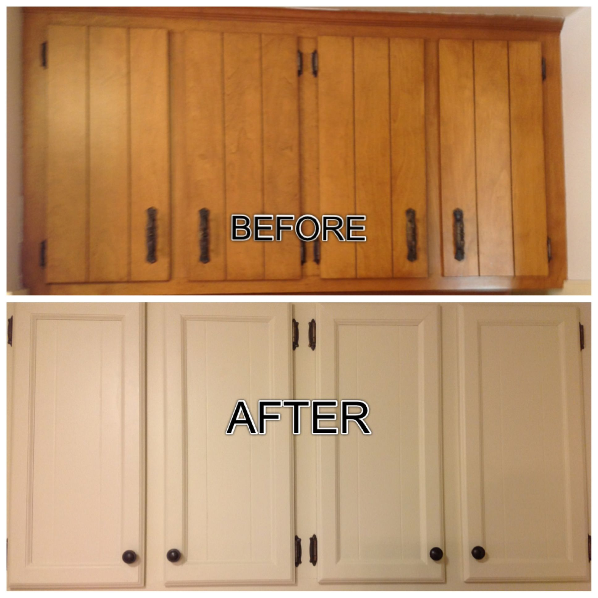 Updated outdated 1970\'s cabinets. Filled the grooves, added trim ...