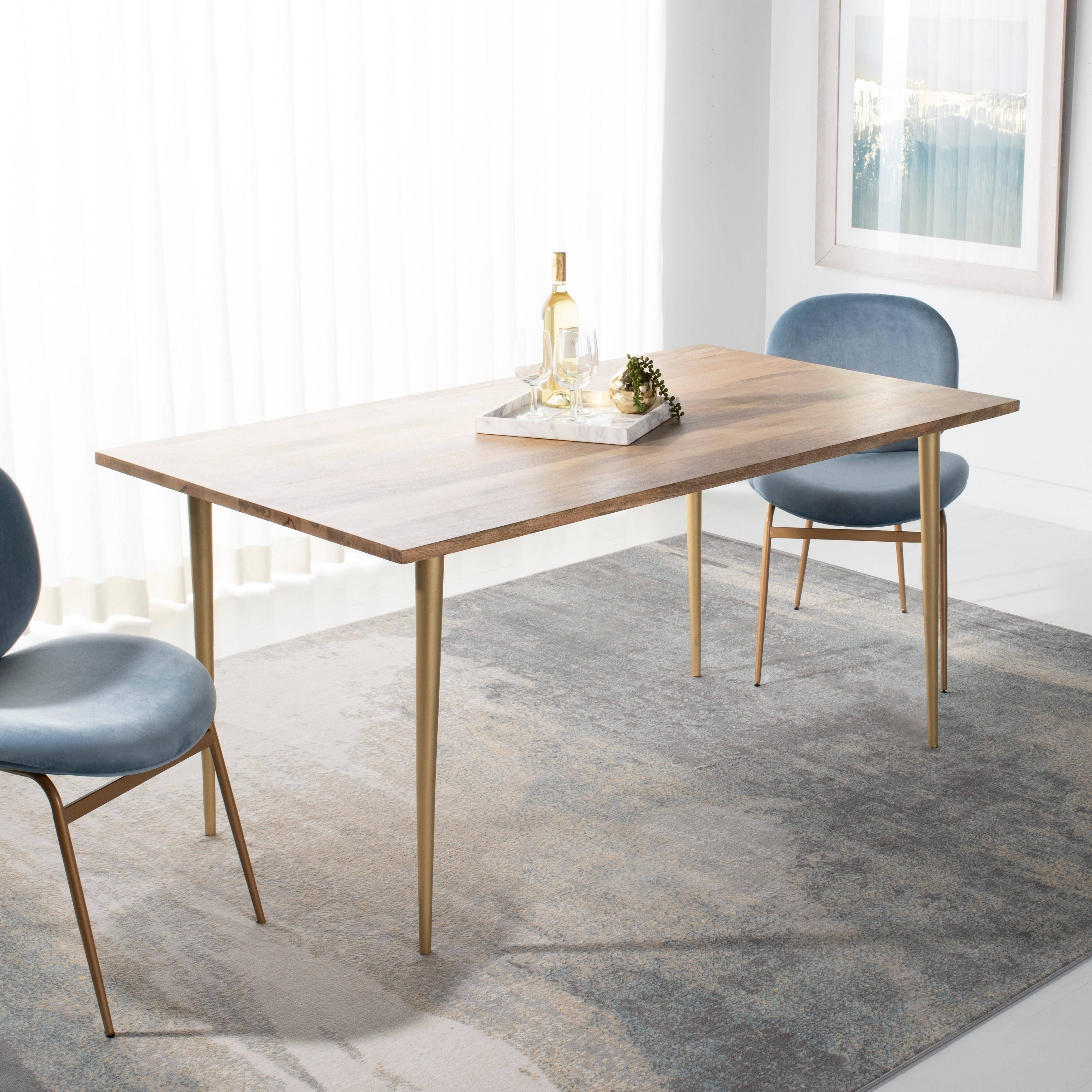 Safavieh Couture Stanley Wood Dining Table Natural Brass