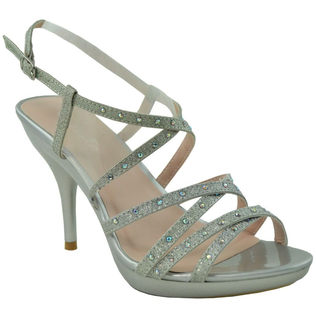 Womens Strappy Slingback High Heel Sandals Silver | High heel ...
