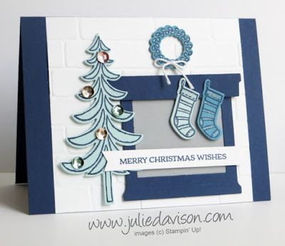 Stampin' Up! Santa's Sleigh Fireplace Christmas Card #stampinup 2016 Holiday Catalog www.juliedavison.com October 2016 Stamp of the Month Club Card Kit Architectural Landscape Design