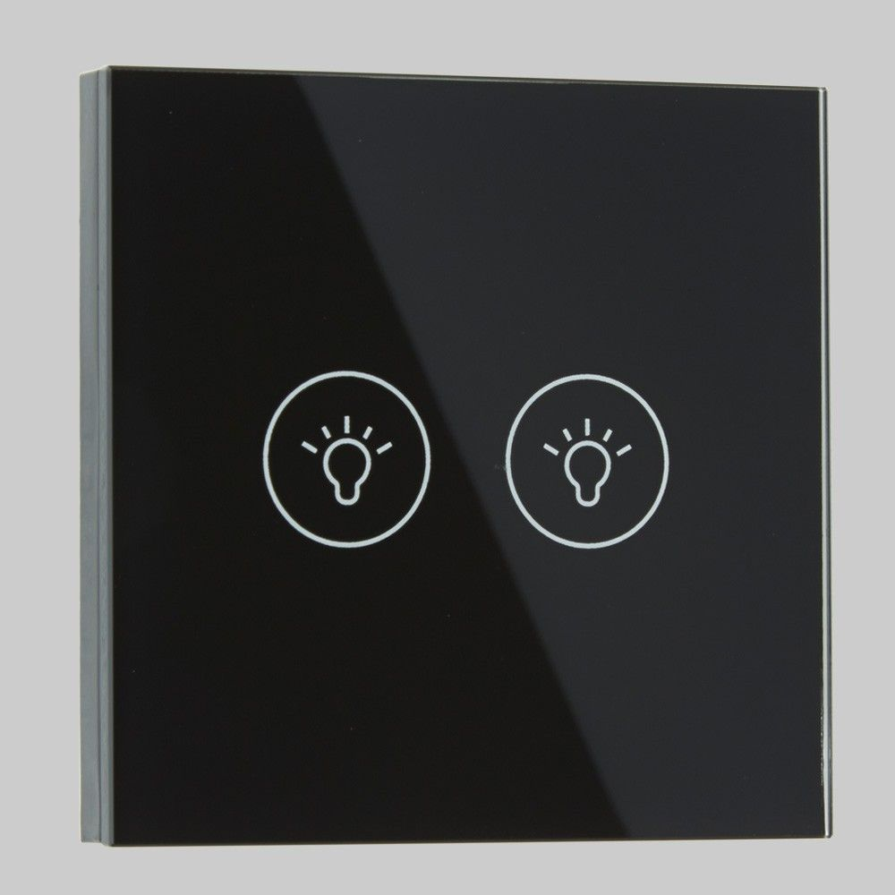 Two Gang Remote Controlled Designer Black Glass On Off Wall Touch Switch    LED DimmersTwo Gang Remote Controlled Designer Black Glass On Off Wall Touch  . Remote Control Outdoor Light Switch 1 Gang. Home Design Ideas