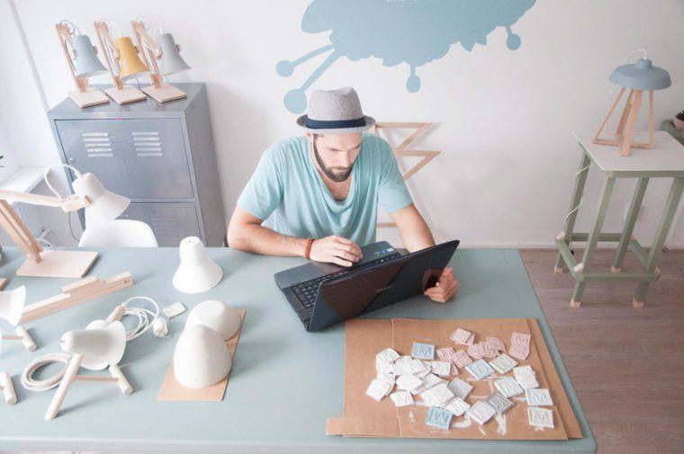 Lamparas de cermica y madera diseño para casa StudioMOSSdesign   na sua lua