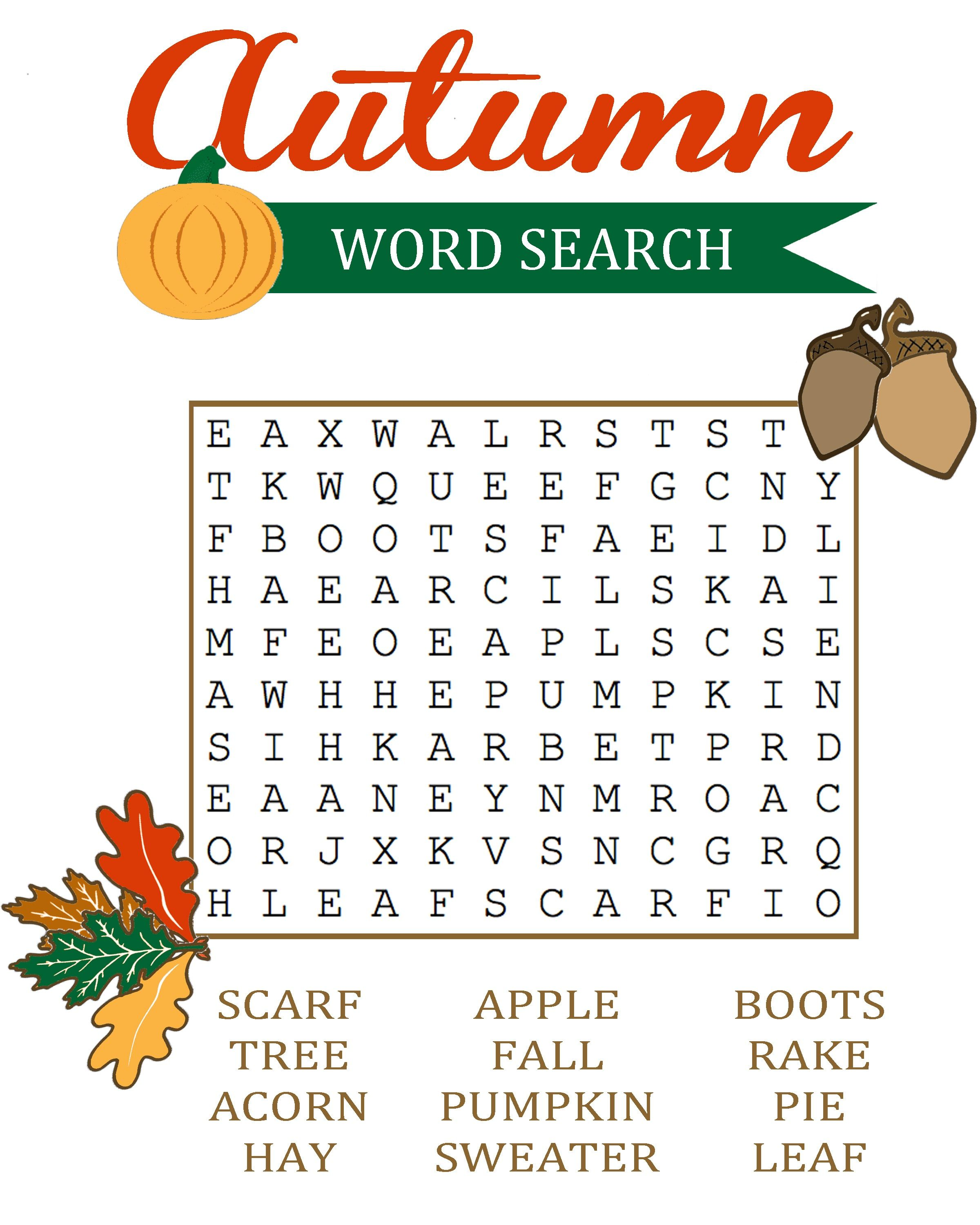Fall Word Search Printable | Activity Shelter