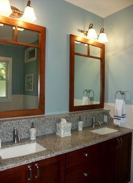 Bathroom With Cherry Cabinets With Granite Counter Top Vanity And Blue Walls Bathroom Redecorating Bathroom Mirror Cherry Cabinets