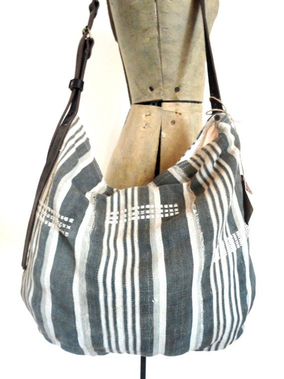 6c5baada414d ANTIQUE INDIGO CLOTH Hobo Bag Tote Purse 19th Century Indigo Dyed ...