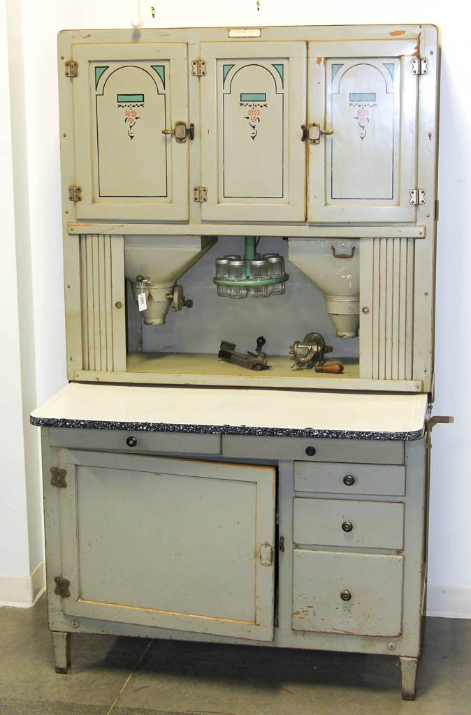 Art Deco Hoosier Paint Decorated Kitchen Cabinet In Two Pieces Top With Three Doors Above A Tambour Concealing Two T Cabinet Kitchen Cabinets Hoosier Cabinet