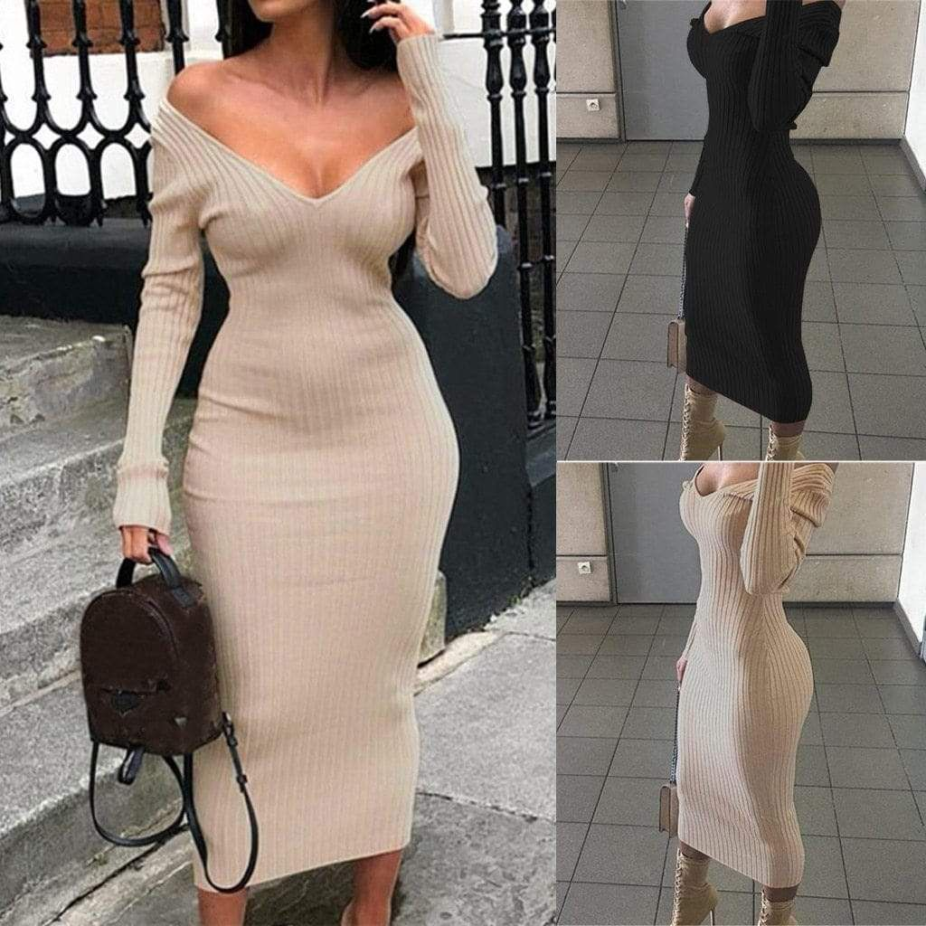 Ribbed Beige Or Black V Neck Long Sleeve Fitted Pencil Midi Dress S L Modern Summerdr Body Con Dress Outfit Casual Dress Outfits Bodycon Midi Dress Casual [ 1024 x 1024 Pixel ]