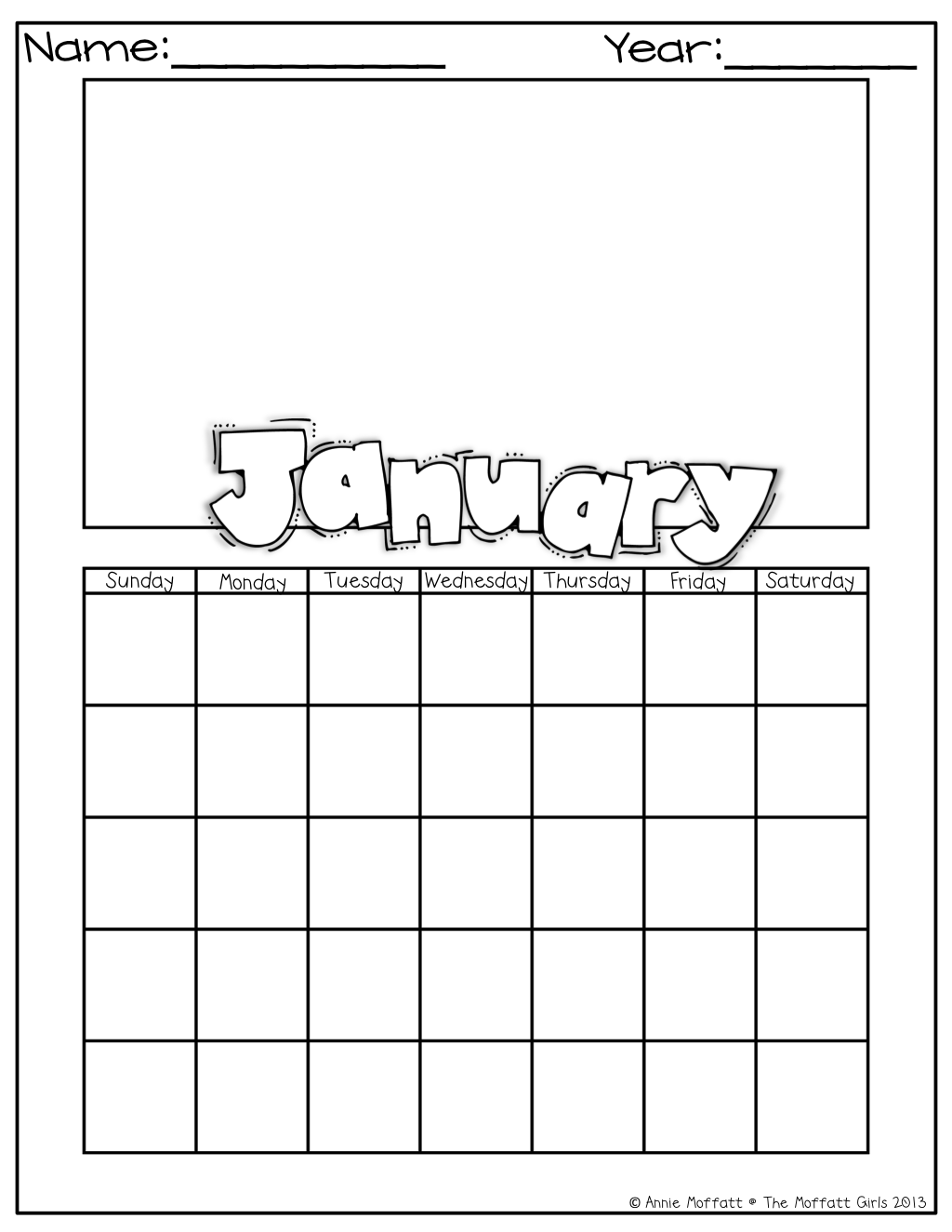 My January Calendar I Can Fill In The Dates And