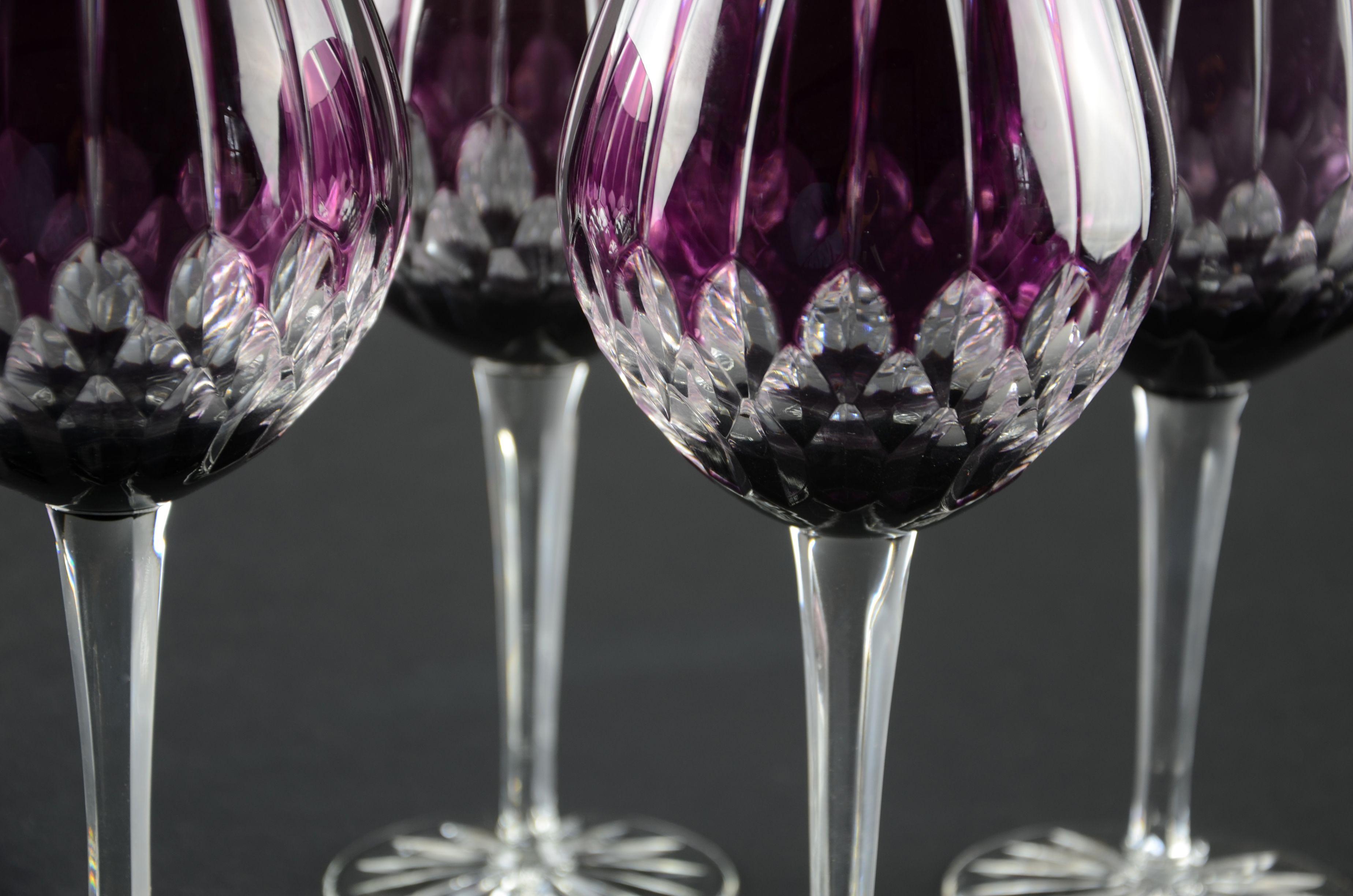 purple glassware now gorgeous purple balloon goblet lead crystal stemware each glass