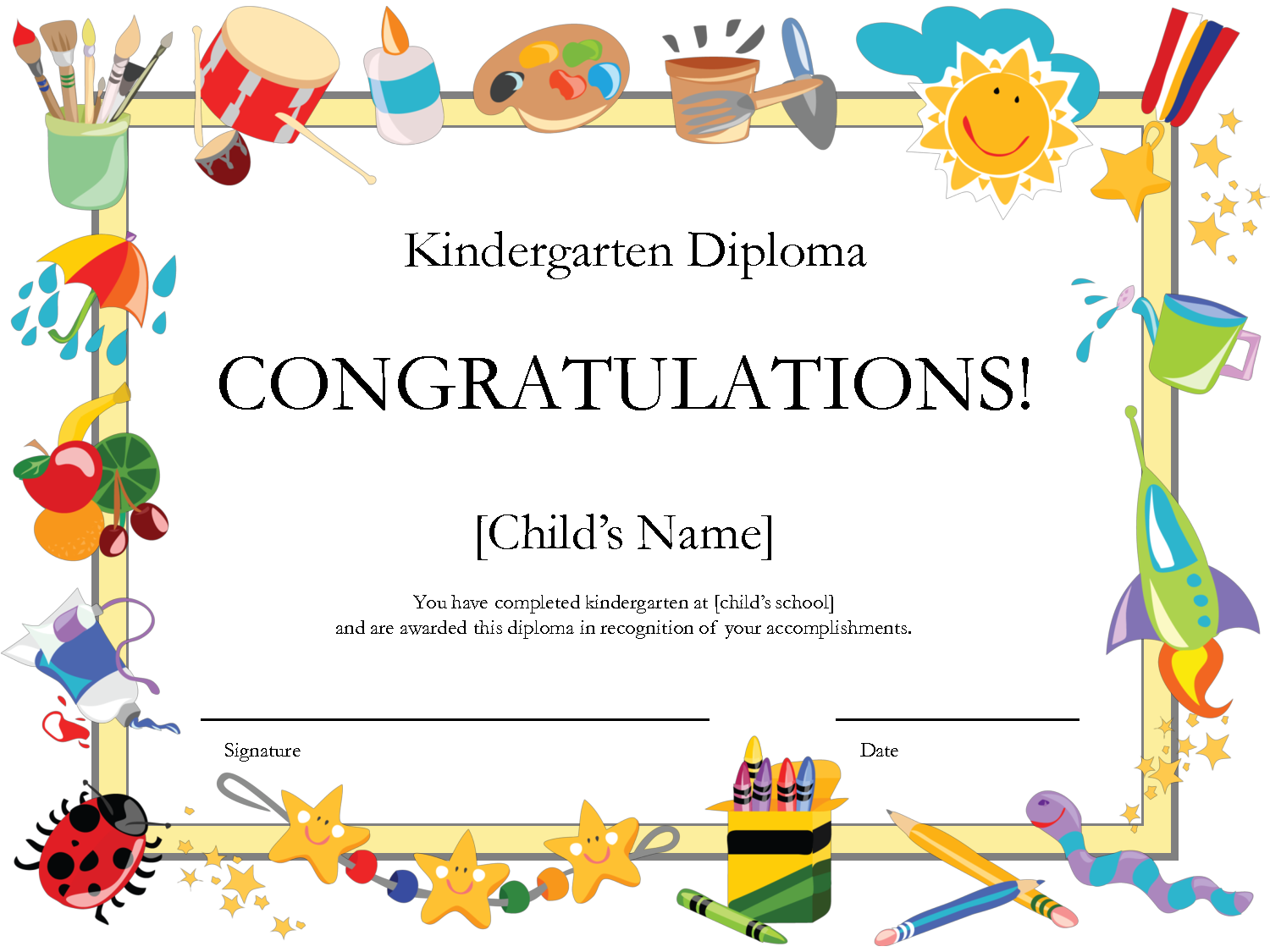 graphic relating to Free Printable Graduation Certificates named Absolutely free Printable Kindergarten Degree by means of PrintShowerGames