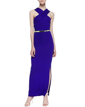 Jessami Sleeveless Halter Neon-Stripe Stretch-Knit Dress, Mid Purple by Ted Baker London at Neiman Marcus.