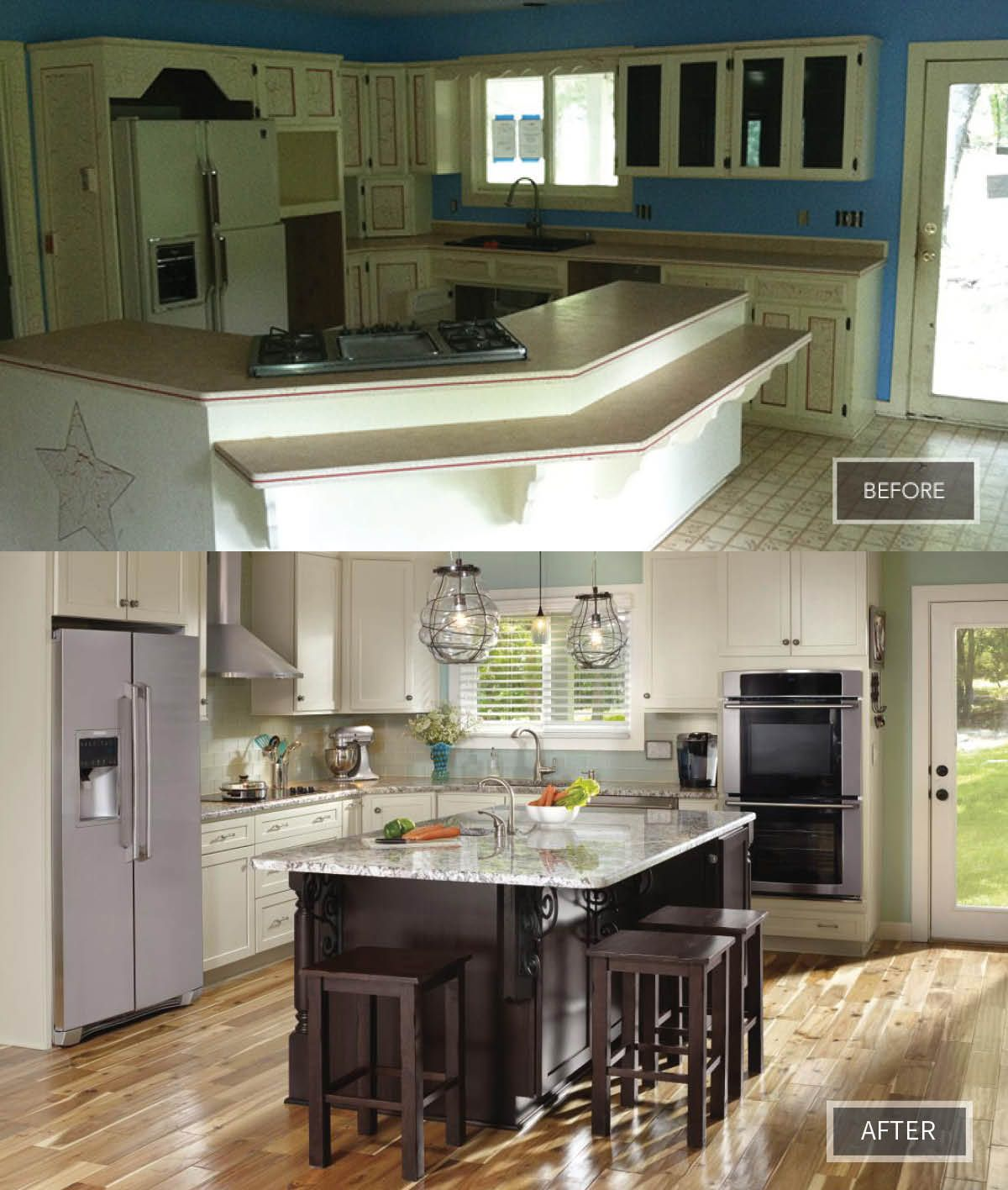 This Previously Closed Off Kitchen Was Uninviting And Outdated The Homeowners Opted For A New Open Concept F Kitchen Facelift Open Concept Floor Plans Kitchen