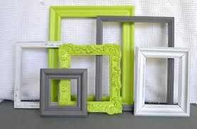 Green Grey bedroom - RESERVED for Ashley Lime Green, Grey White Frames Set of 6 Upcycled Frames Modern Bedroom Decor images