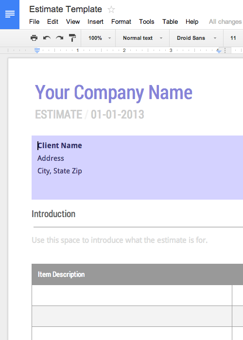Free Work Estimate Template For Google Docs Invoice Template Estimate Template Receipt Template