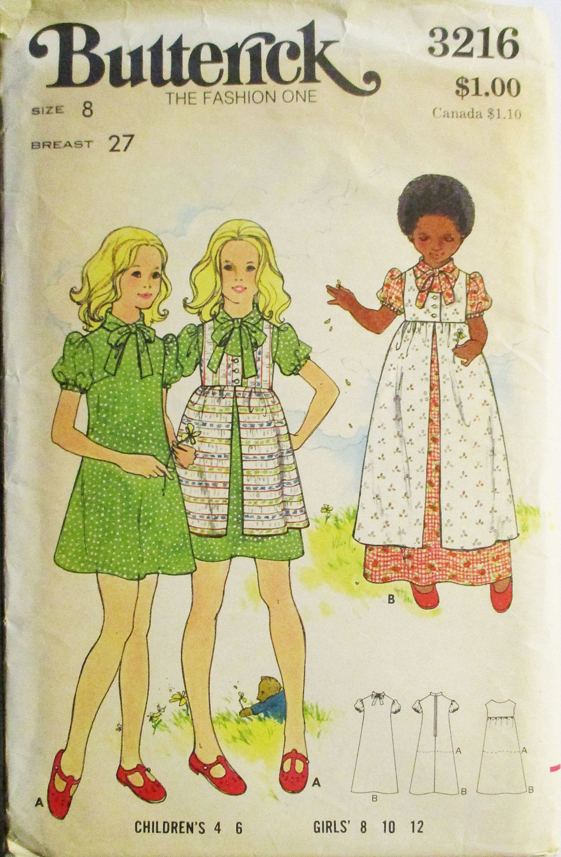 BUTTERICK 6063 VINTAGE GIRLS EMPIRE WAIST SPECIAL OCCASION DRESS PATTERN