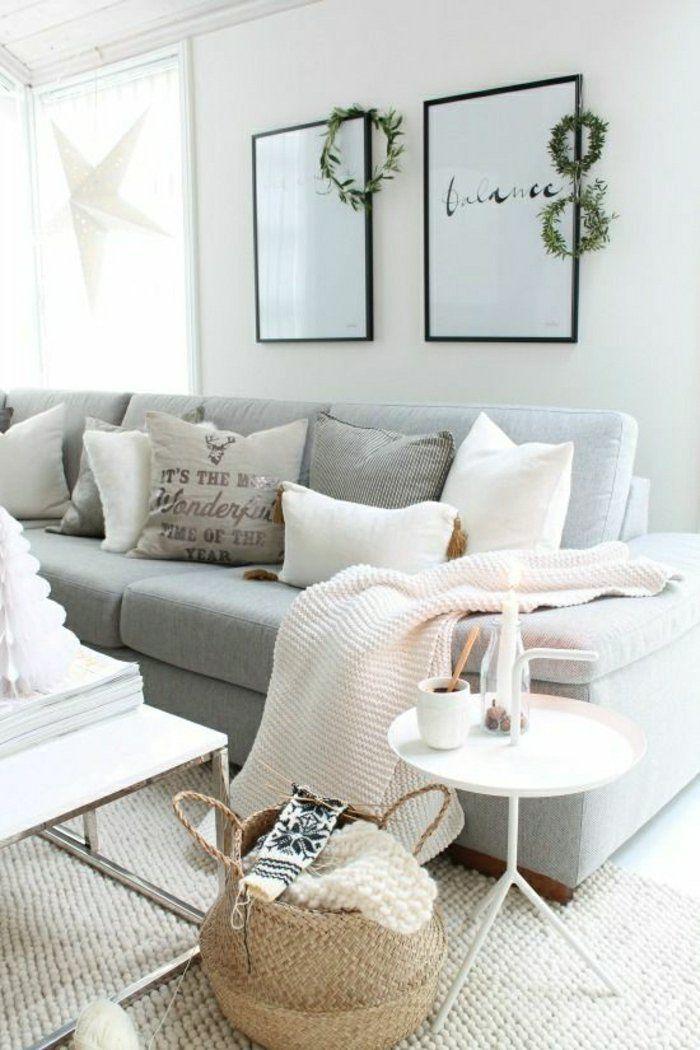 Déco Salon – jeté de canapé pas cher gris dans le salon moderne ...