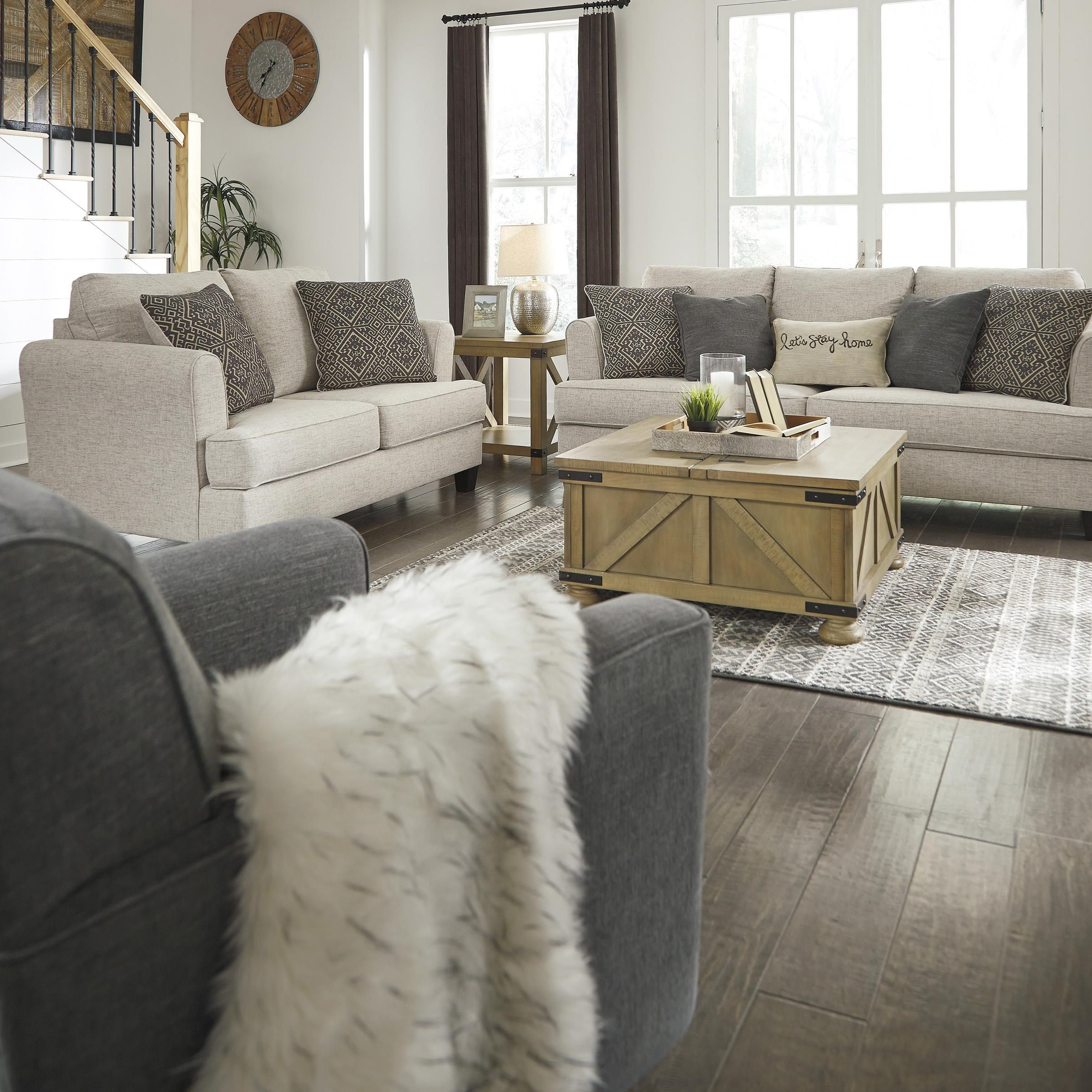 Best Alcona Beige Sofa Loveseat And Swivel Chair By Ashley 400 x 300