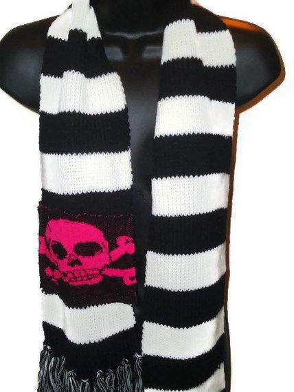 Black and white striped skull winter scarf