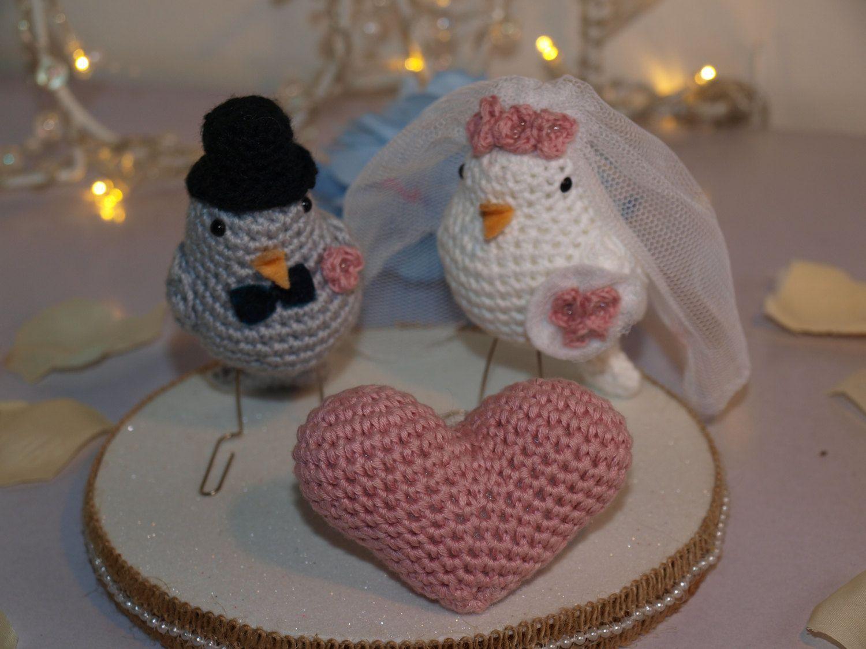 Pareja de pajaritos novios ideal para bodas, tarta nupcial o regalo de StyloCrochet en Etsy