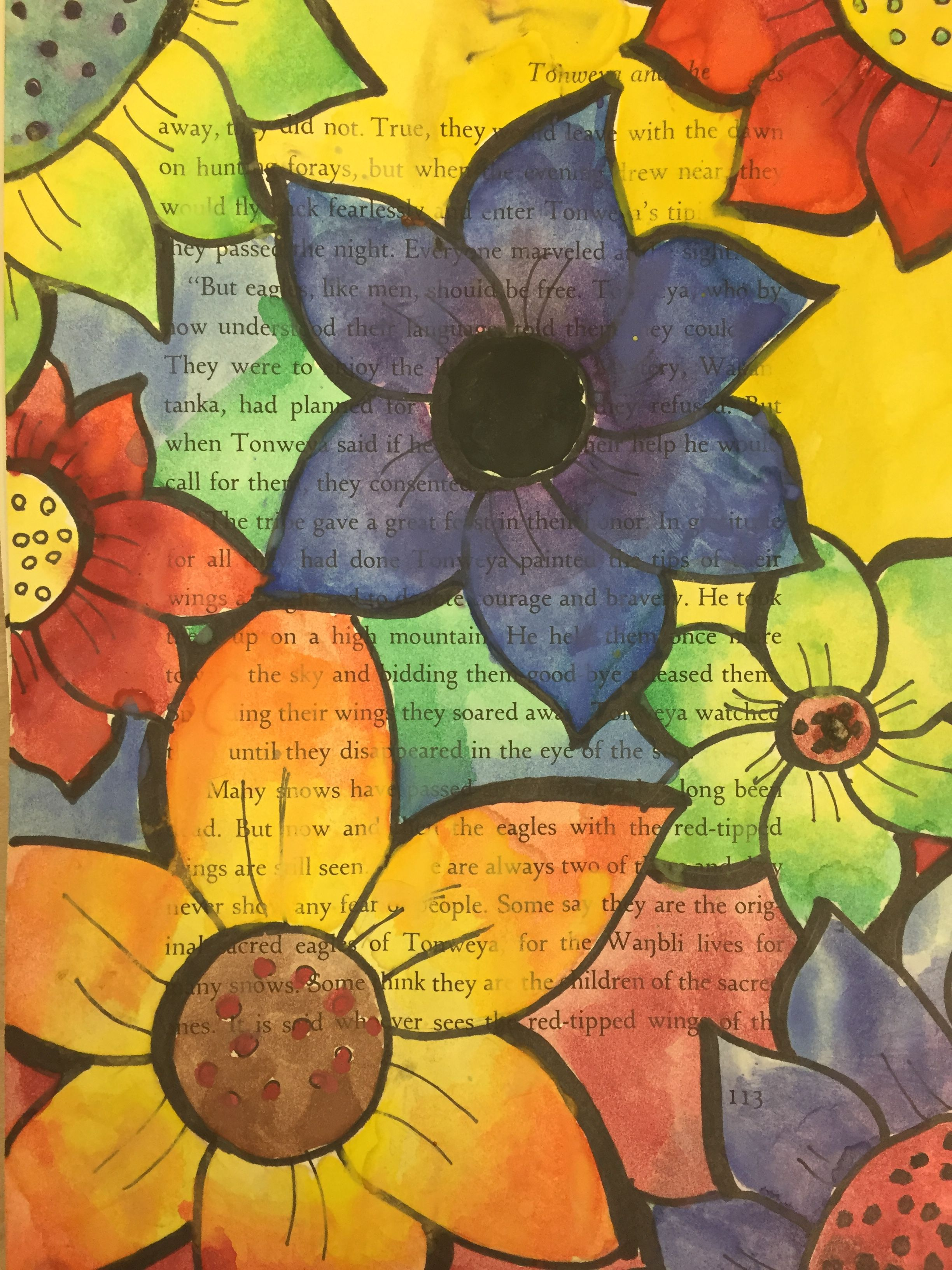 Middle School Art Project Watercolor Painting On Book Pages