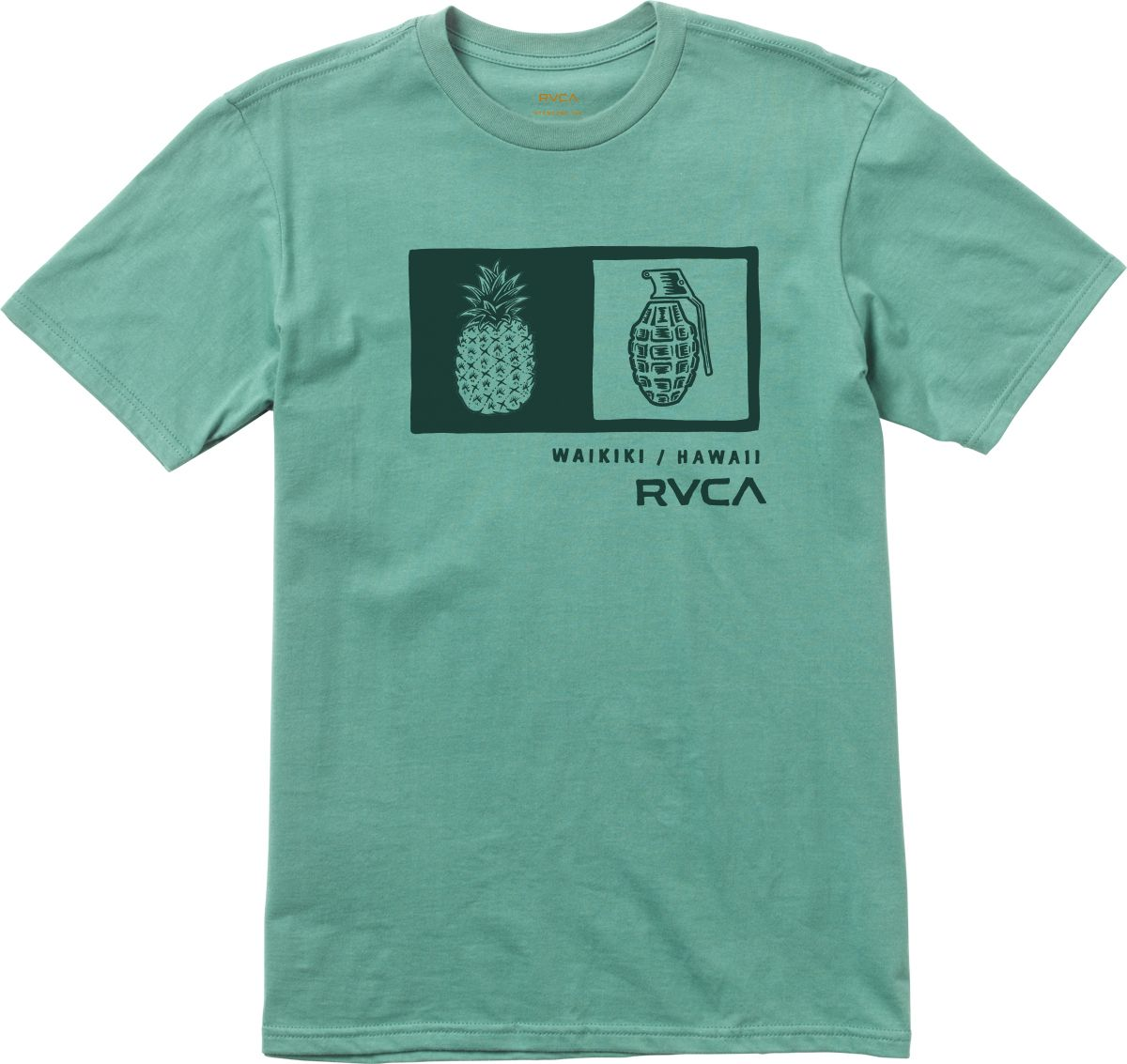 The RVCA Pineapple Grenade is a standard fit tee with a front back screen  print and screened inside neck. 5fed004b2e5fa
