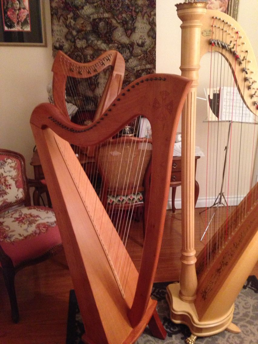 My harps: Lyon & Healy Prelude, Stoney End Britany, and