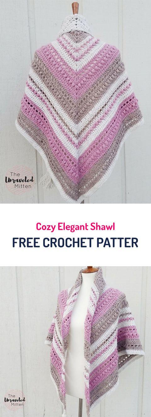 Cozy Elegant Shawl Free Crochet Pattern #crochet #crocheted #yarn ...